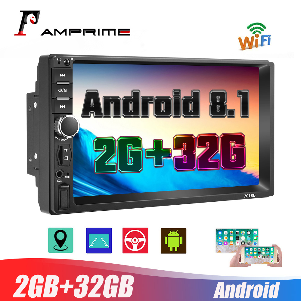 AMPrimeAndroid 2Din 7'' HD 1080P Car Multimedia Player 2+32GB Autoradio stereo Car Radio With Bluetooth WIFI GPS FM Radio Receiv image