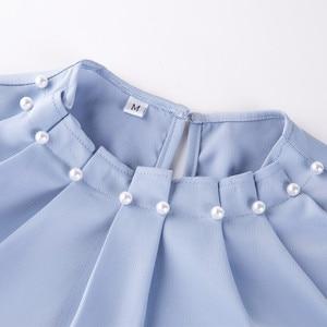 Image 5 - Long Sleeve Beading Shirt Women Fashion New Autumn O Neck Loose Chiffon Blouse Office Ladies Plus Size Work Tops