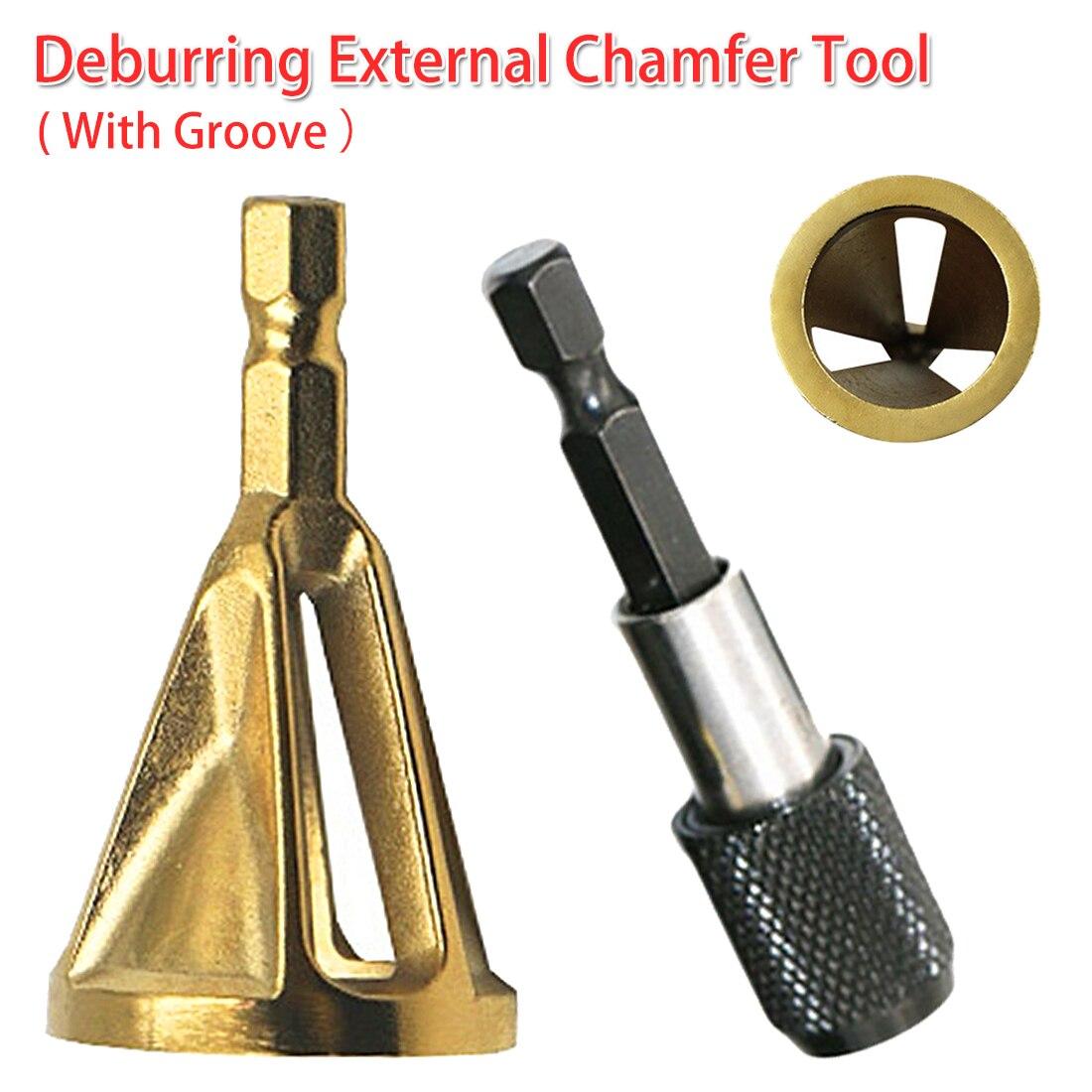 4-19mm Work Range Stainless Steel Deburring External Chamfer Tool Drill Bit Remove Burr 1/4 Shank For Copper/ Wood/ Plastic