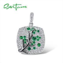 SANTUZZA Серебряная подвеска для женщин 925 пробы Серебряная сверкающая зеленая ветка Вишневое дерево модная подвеска кулон ювелирные изделия