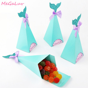 10 pcs Little Mermaid Gift Boxes Paper Candy Bags Mermaid Birthday Party Decor Kids Favor Boxes for Wedding Baby Shower Supplies