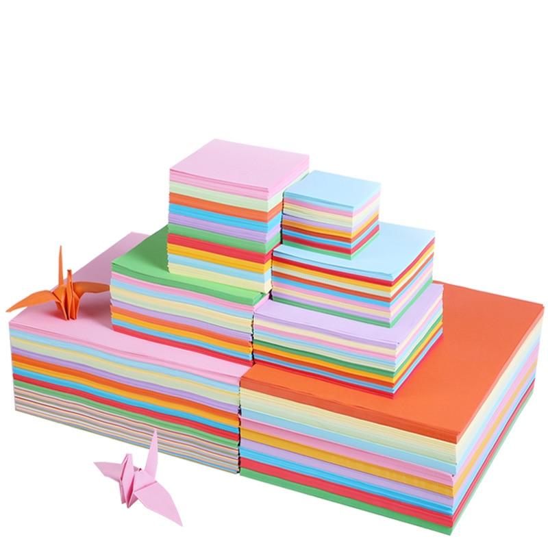 100 folhas/pacote quadrado origami presente papel de embalagem lados dobro papel polpa de madeira pura diy artesanal dobrável papel