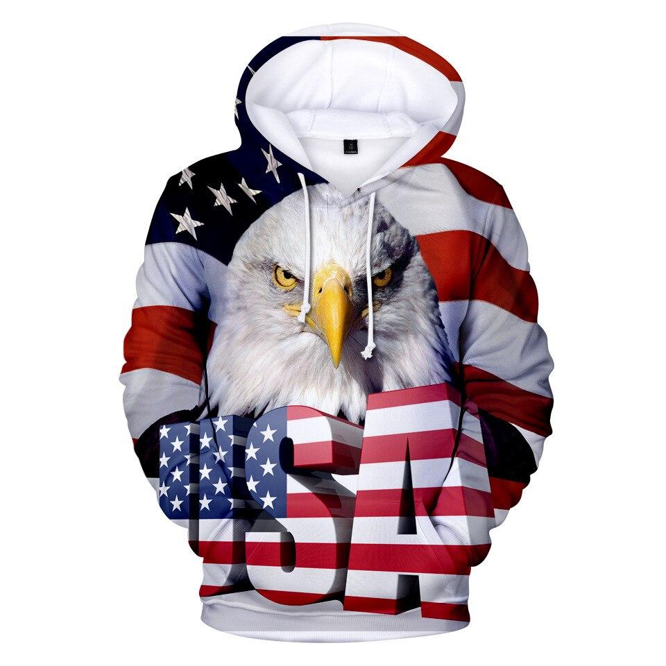 Cross Border For 2018 America National Flag USA 3D Word Eagle Head 3D Hooded Pullover Hoody Plus Velvet 3D Hoodie