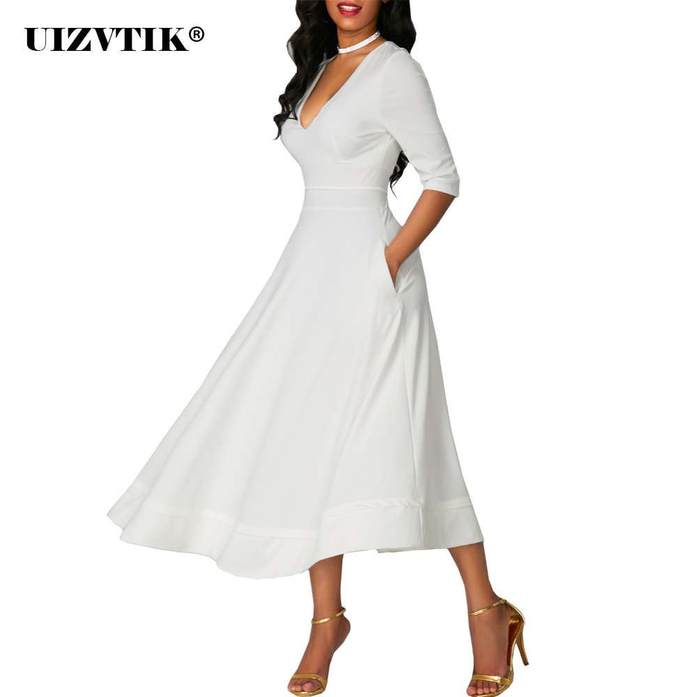 Spring Summer Dress Women 2020 Elegant Sexy Deep V Neck Long Party Dress Casual Plus Size Slim Ball Gown Maxi Dresses White 5XL