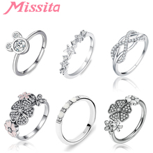 MISSITA 925 Sterling Silver Cute Mickey Rings For Women Girls Gift Cartoon Element Cubic Zircon Color Brand Jewelry