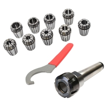 купить 9Pcs Er25 Spring Collets+1Pcs Mt3 M12 Er25 Collet Chuck Morse Taper Holder for Cnc Milling Lathe Tool дешево