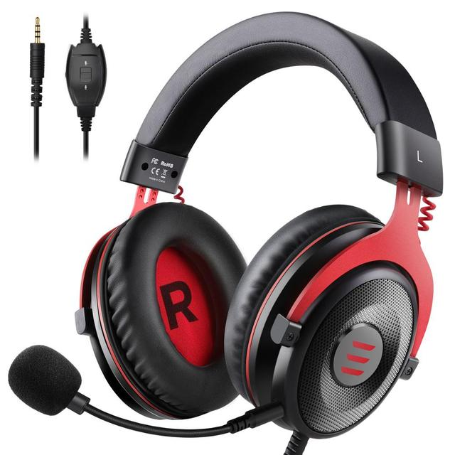 EKSA Gaming Headphones Wired Gamer Headset  3.5mm Over Ear Headphones With Noise Cancelling Mic For PC/Xbox/PS4 One Controller