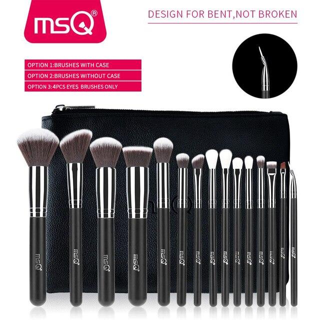 MSQ 4/15pcs Makeup Brushes Set Powder Foundation Eyeshadow Make Up Brush Kits Cosmetics Soft Synthetic Hair With PU Leather Case 1
