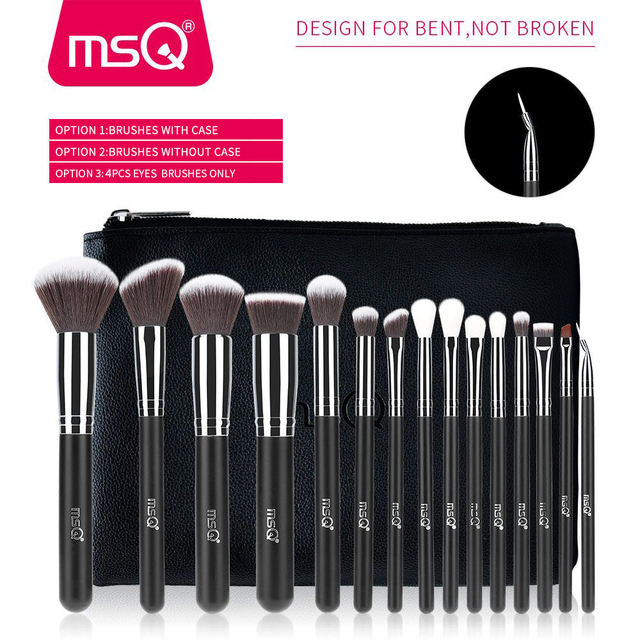 MSQ Professional 15pcs Makeup Brushes Set Powder Foundation Eyeshadow Make Up Brush Kit Cosmetics Synthetic Hair PU Leather Case 1