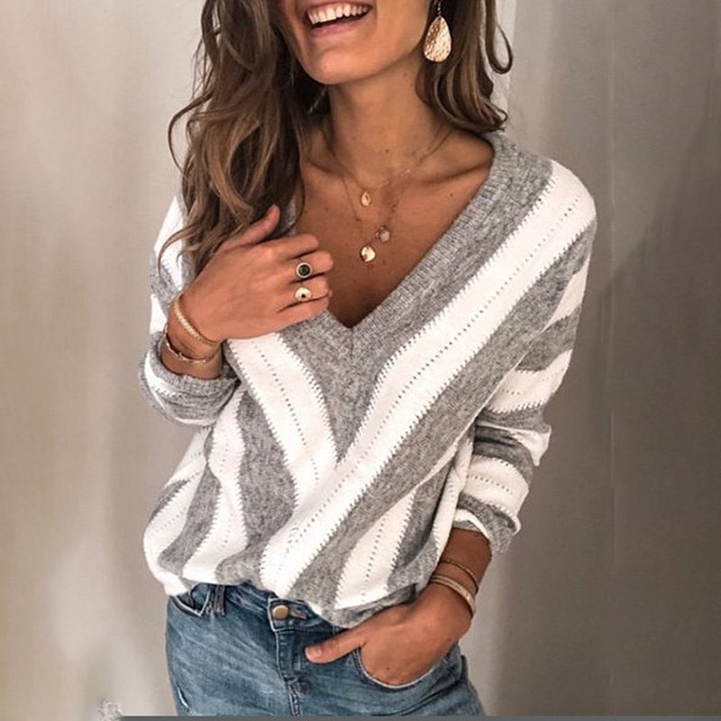 New Women's Sweater V-neck Striped Sweater Slim Sweater Thin Section Thin Wool Woven British Wind Sweater Women