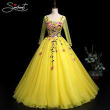 OLLYMURS Yellow European and American Prom Dress New Summer Gradient Slim Slimming Performance One Word Shoulder Dress Supply