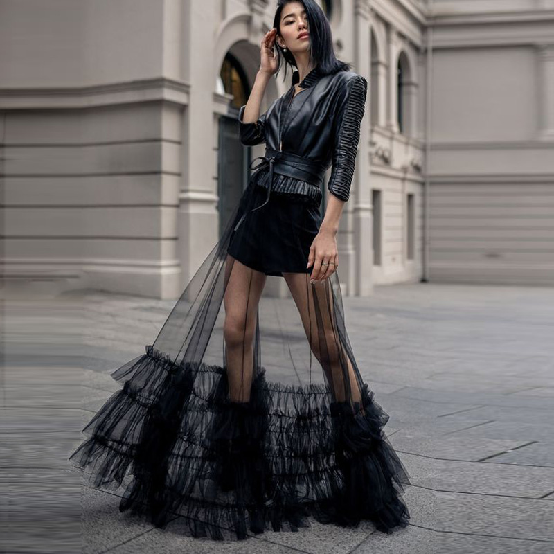 One Layer Sheer <font><b>Tulle</b></font> Maxi <font><b>Skirt</b></font> <font><b>Long</b></font> <font><b>Black</b></font> Ruffled <font><b>Tulle</b></font> Overskirt Women Tutu <font><b>Skirt</b></font> See Through Overlay Custom Made Cheap image