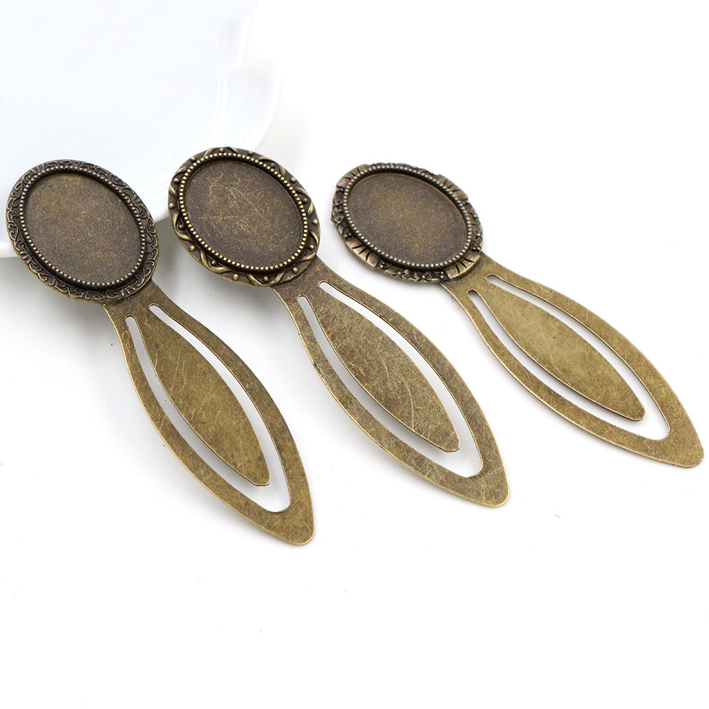 New Fashion 2pcs 18x25mm Inner Size 3 Style Antique Bronze Vintage Style Handmade Bookmark Cabochon Base  Cameo Setting