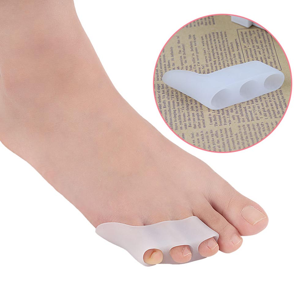1 Pair 3 Holes Little Toe Silicone Toe Separator Foot  Varus Corretcor Foot Care Toe Separators For Bunions Drop Shipping