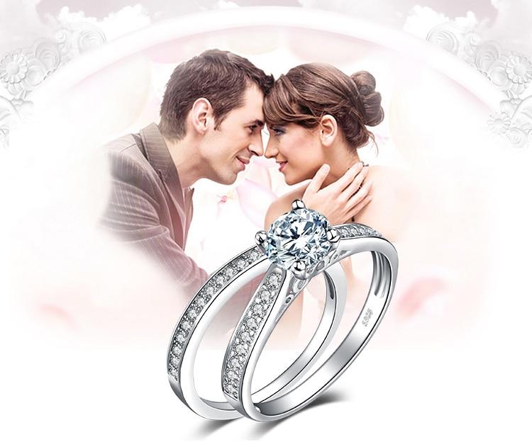 Women Rhinestones Cubic Zirconia Rings Set Couple Rings Jewelry Gifts L6P7