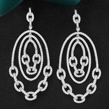 GODKI 2020 الفاخرة العصرية ربط سلسلة طويلة انخفاض الأقراط مكعب الزركون أقراط للنساء انخفاض الأقراط Brincos مجوهرات الأزياء