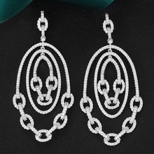 GODKI boucles doreilles en Zircon cubique pour femmes, boucles doreilles de luxe avec chaîne à maillons tendance, bijoux à la mode, 2020