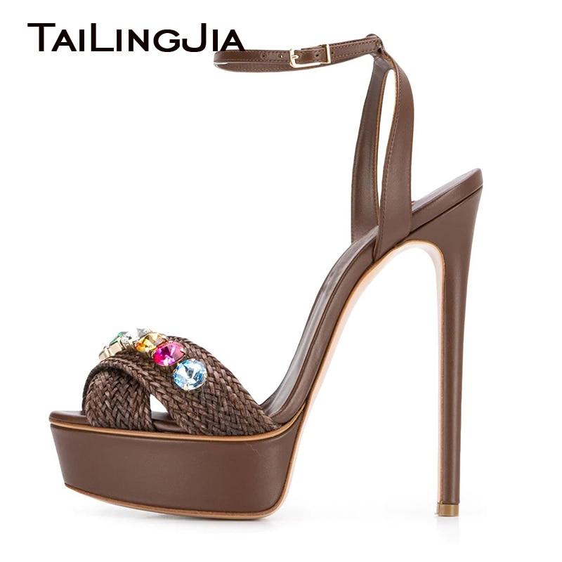 Platform Party High Heel Sandals Rhinestone Shoes Wedding Bridal Footwear Large Size 34-46 Women Stylish Buckle Strap 2020 New