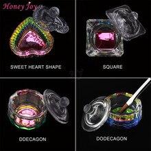 1 adet gökkuşağı kristal şeffaf akrilik sıvı bulaşık Dappen bulaşık cam kapaklı bardak kase akrilik toz Monomer tırnak sanat aracı kiti