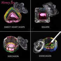 1 pc Rainbow Crystal Clear Acrylic Liquid Dish Dappen Dish Glass Cup with Lid Bowl for Acrylic Powder Monomer Nail Art Tool Kit