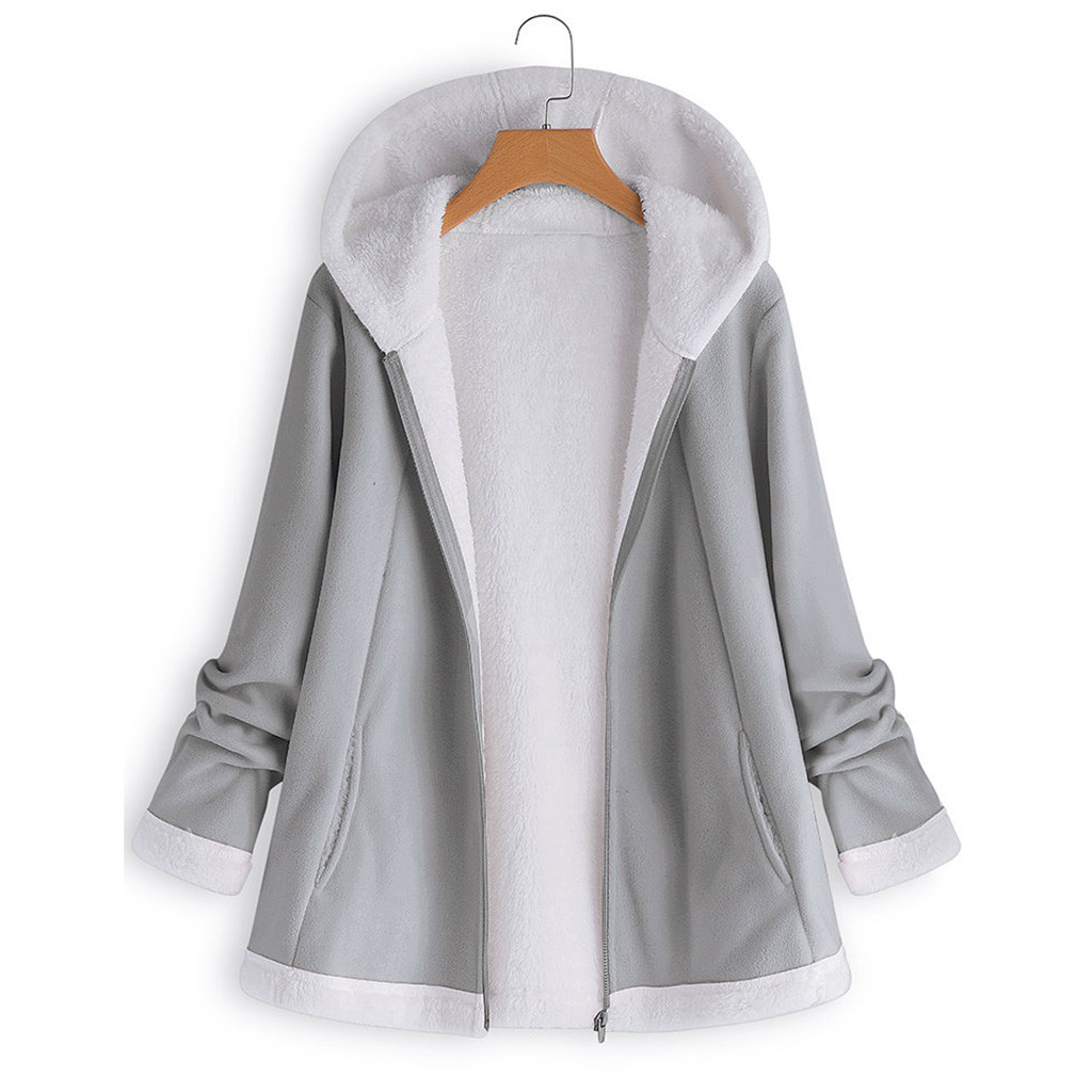 H0284c81d854d44718160a302688d7b73p women's autumn jacket Winter warm solid Plush Hoodie Coat Fashion Pocket Zipper Long Sleeves outwear manteau femme plus size 5XL