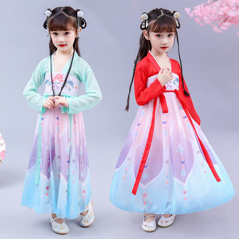 Girls Chinese Clothing Autumn Dress 2019 New Style Autumn Clothing Ancient Costume Jacket Skirt Immortal Chinese-style GIRL'S Au