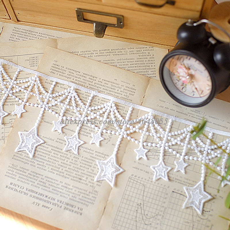 1y Handmade DIY Star Embroidery lace fabric tirm ribbons Tassel Soluble lace Clothing Curtain Bead Chain Decoration Accessories in Lace from Home Garden