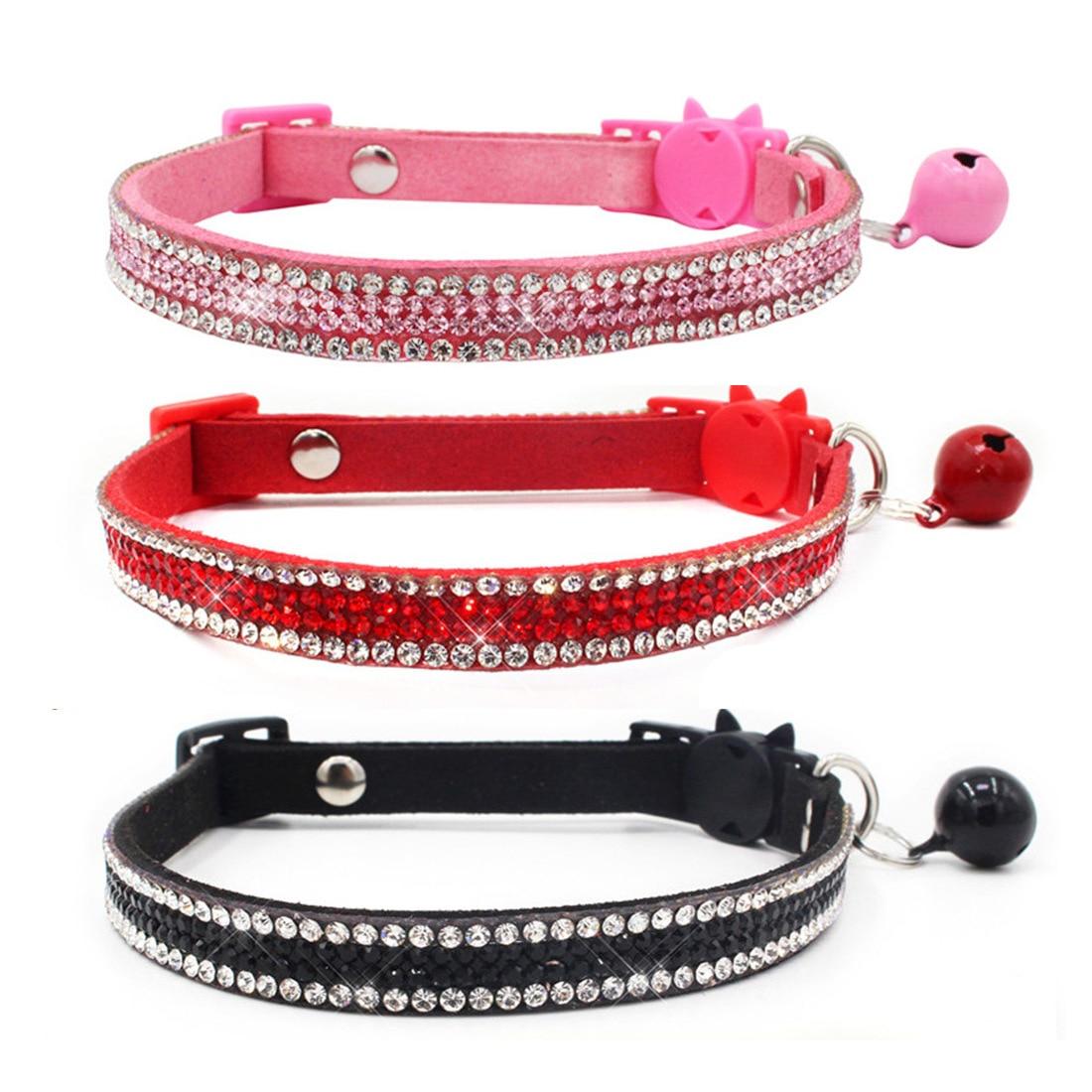 Ошейник для кошки, Кристальное ожерелье для котенка с колокольчиком, кольцо для шеи, безопасный ошейник для котенка, аксессуары для шеи, тов...