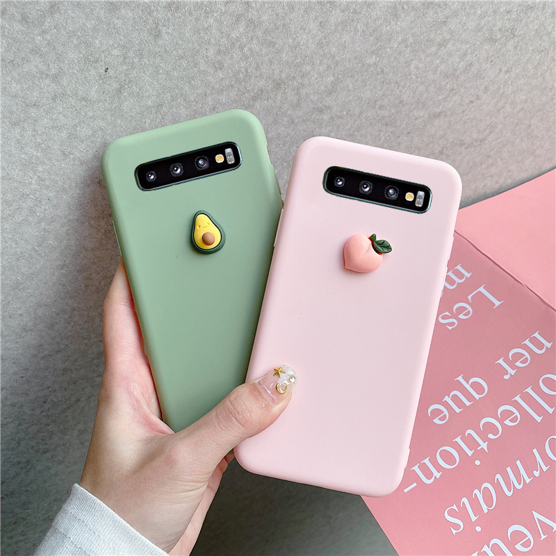 Case For Samsung Galaxy S8 S9 S10 5G Lite Plus S6 S7 Edge Soft Cover Cute 3D Fruit Silicone Peach Grape Avocado orange Cases image