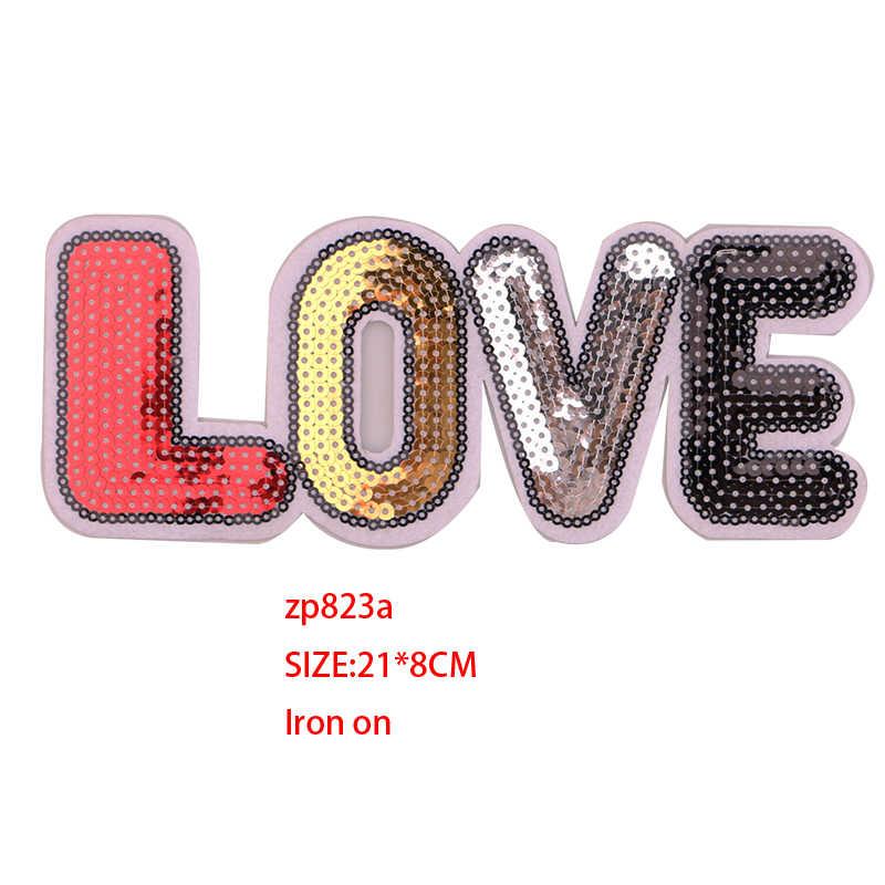 1 pièces Love 3D sequin icônes icône brodé fer sur patchs pour vêtements bricolage rayures vêtements Patchwork autocollants Badges personnalisés