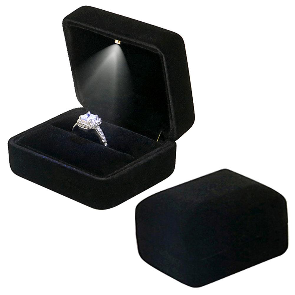 Flannel Ring Box With LED Light For Wedding Engagement Ring Jewelry Display Storage Box Jewelry Organizer Ring Stoarge Case