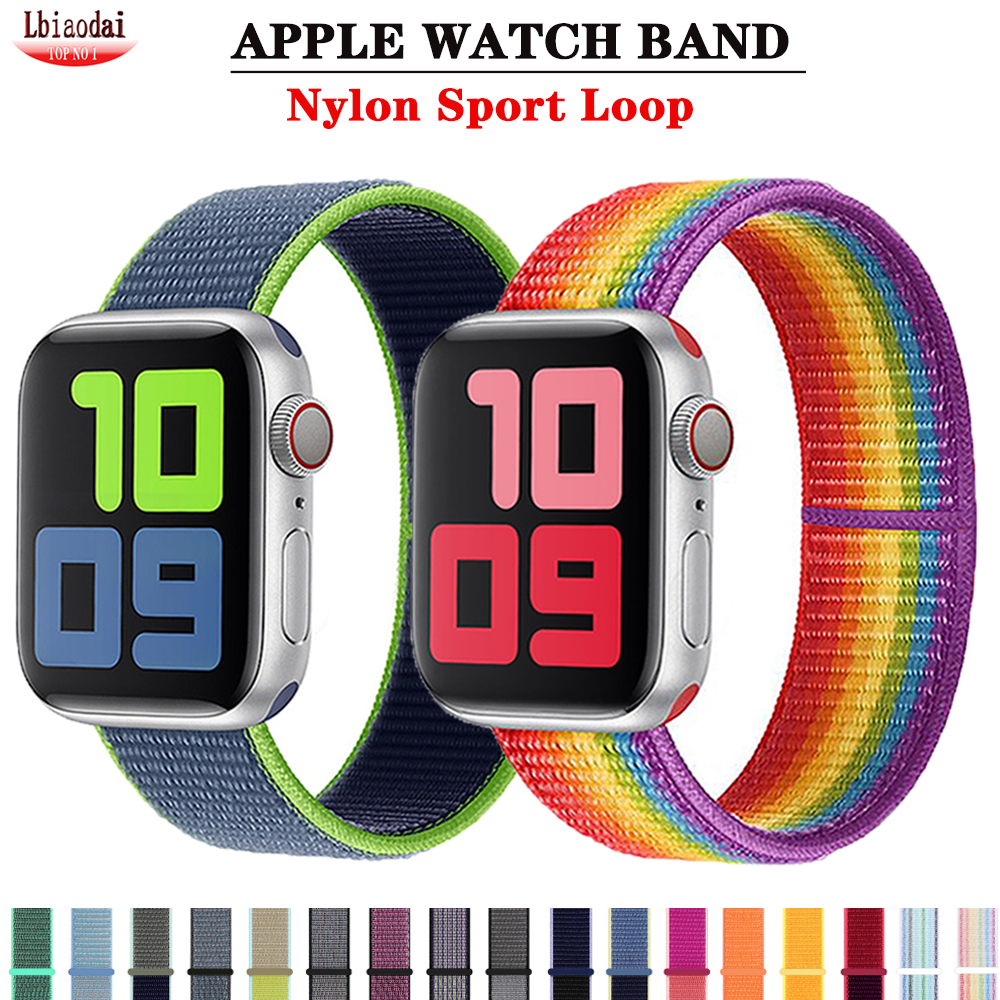 Cinghia Apple Watch band 40mm 44mm 38mm 42mm Accessori In Nylon di Sport anello della fascia del braccialetto iWatch serie 5 4 3 2 38 42 40 44  mm