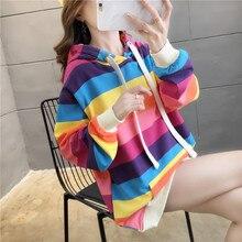 2021 Colorful Rainbow Stripe Harajuku Casual Hoodies Sweatshirt Tops Pullovers Female Thin Loose Plus Size 2XL Korean Fashion