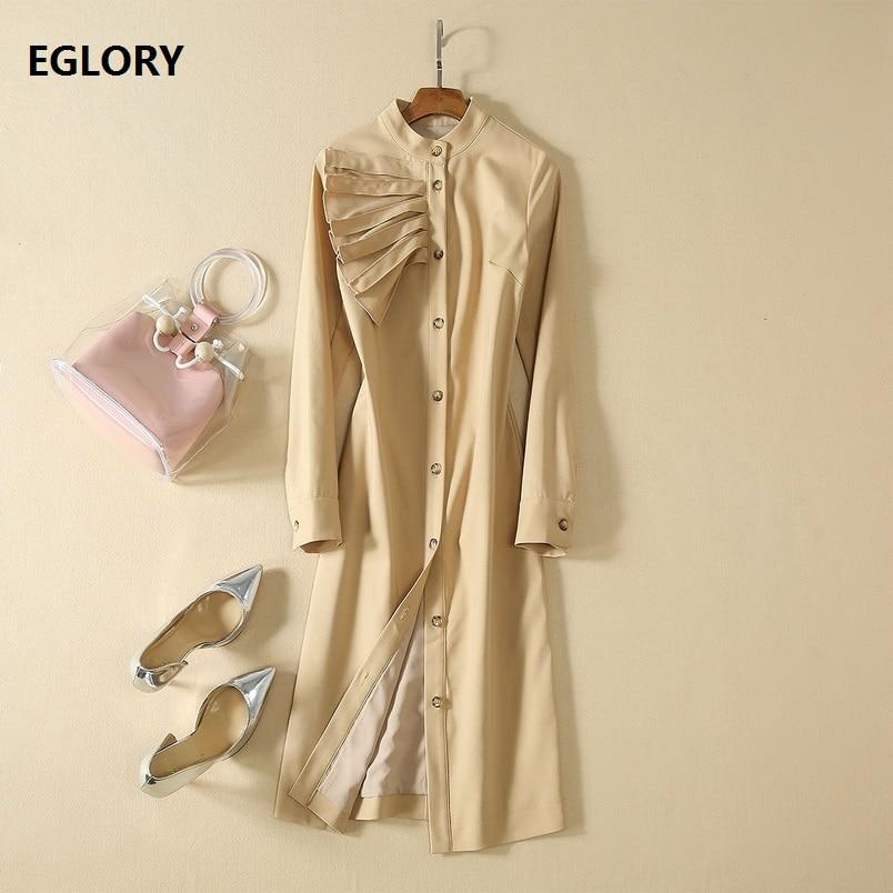 Haute qualité Designer robe 2019 automne Style femmes Stand cou plissé à volants Patchwork à manches longues mi-mollet bouton robe travail