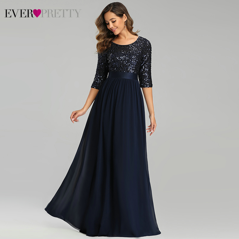 Navy Blue Evening Dresses Long Ever Pretty A-Line O-Neck 3/4 Sleeve Sequined Chiffon Formal Evening Gowns Abiti Eleganti Donna
