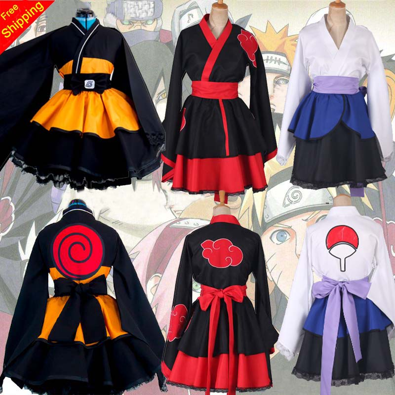 Customized Naruto Shippuden Uzumaki Naruto Female Lolita Kimono Dress Wig Anime Cosplay Costume For Women Clothes Free Shipping