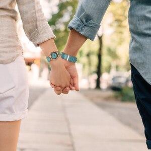 Image 2 - ボボ鳥女性男性腕時計ブルーレザーストラップカップルクォーツ腕時計愛好家のギフト時計木製腕時計ボックスドロップシップリロイhombre
