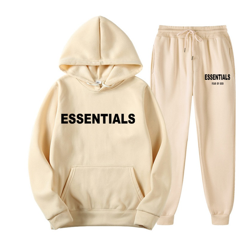 2021 Classic Printed Letter ESSENTIALS Suit Hoodie + jogging Sweatpants Unisex Loose Pullover Sports Hoodie Fashion Streetwear