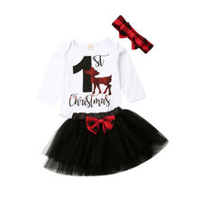 My 1st Christmas Newborn Clothes Baby Girl  Long Sleeve Romper Tulle Skirt Set