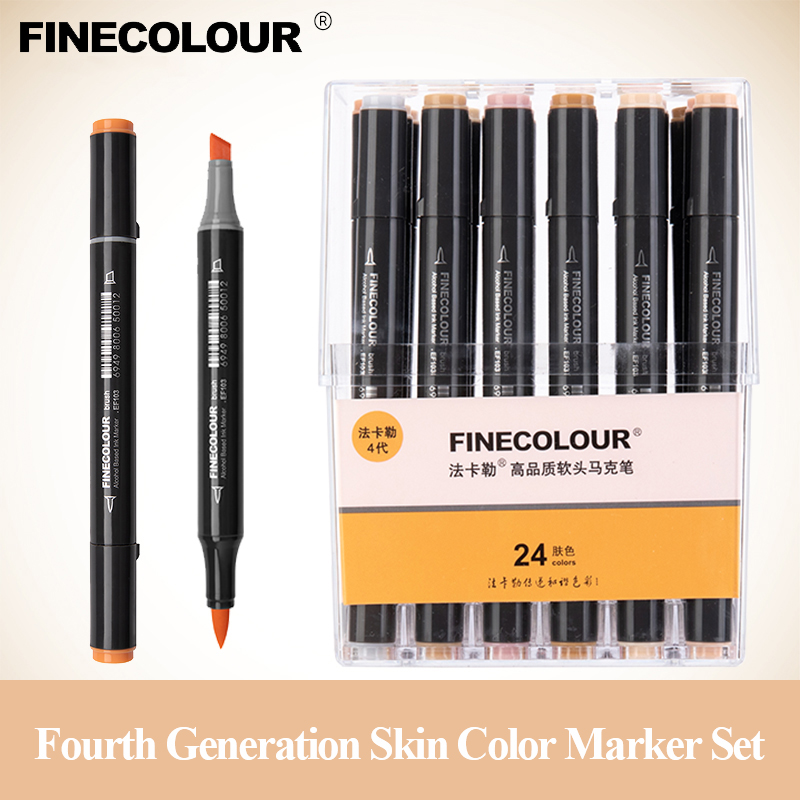 Finecolour EF103 12/24/36 Skin Colors Alcohol Based Ink Art Markers Calligraphy Marker Double-Headed Brush Markers For Drawing