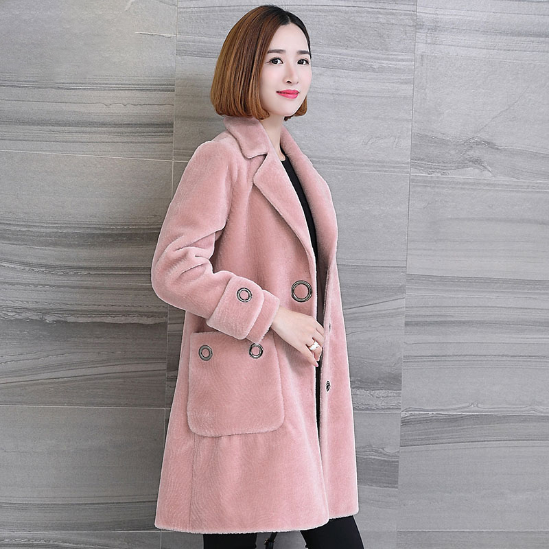 Fashion 2020 Sheep Shearling Coat Female Winter Warm Real Wool Coats Fur Coat Women Jackets Casaco Feminino WYQ1146 S