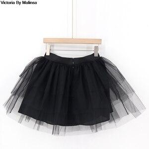 Image 5 - Fashion Womens White Mini Tulle Skirt Fairy Black Secret saia Voile Bouffant Puffy Skirt Short Tutu Skirts Custom Made