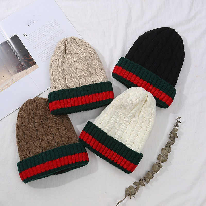 New Winter Solid Color Wool Knit Beanie Women  Casual Hat Warm Female Soft Thicken Hedging Fashion Cap Slouchy Bonnet Ski