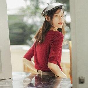 Image 2 - Inman 2020 primavera nova chegada literária frança gola redonda tricô wear feminino cor sólida pulôver camisola