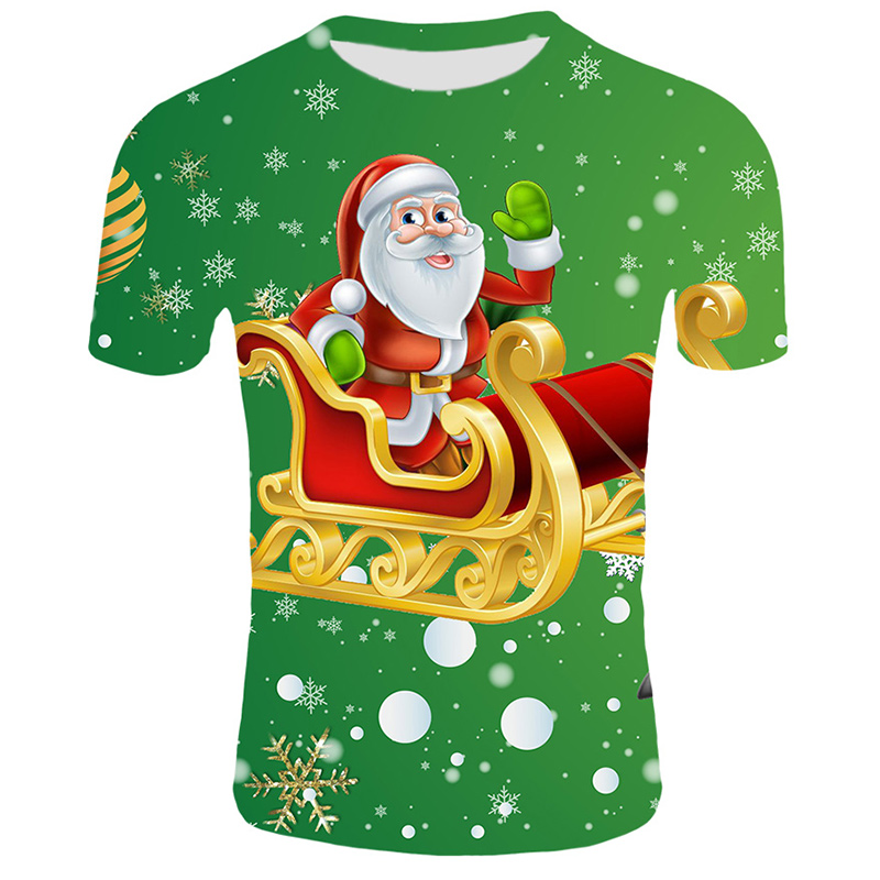 Модные футболки с рождественским узором, мужские Забавные футболки с принтом Санта-Клауса, повседневные 3d футболки, вечерние футболки со снеговиком, одежда с коротким рукавом - Цвет: T30