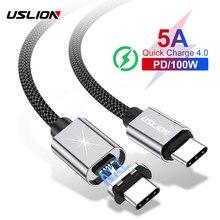 USLION 5A PD 100W hızlı şarj manyetik USB kablosu tip C USB C kablosu için MacBook Pro mıknatıs tel kablosu Samsung not 10