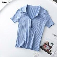 ITOOLIN-Camiseta de manga corta para mujer, Polo Vintage, ropa acanalada de punto liso, Top corto