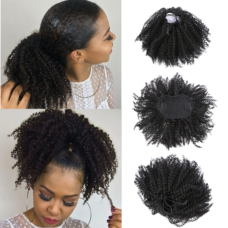Drawstring Afro Kinky Curly Ponytail Synthetic Hair Chignon Bun Hairpiece For Women Updo Clip In Hair Puff Extension
