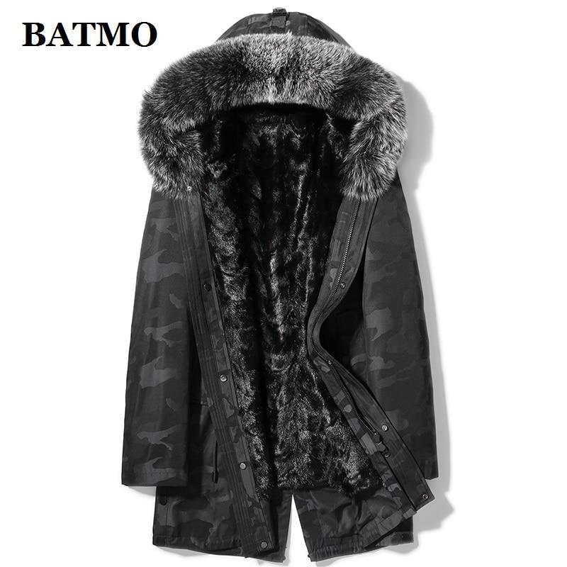 BATMO Natrual Fur Parkas,fox Fur Collar&mink Fur Liner Thicked Hooded Jackets Men,fur Coat Men,X7189