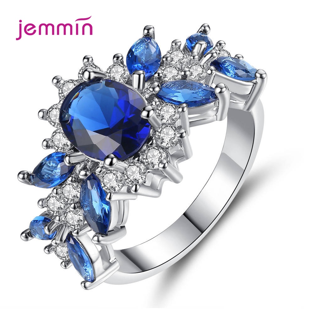 New Blue/Green Cubic Zirconia Rings For Women Bridal Fashion Fewelry Gift Shiny CZ Crystal Wedding Engagement Rings Wholesale